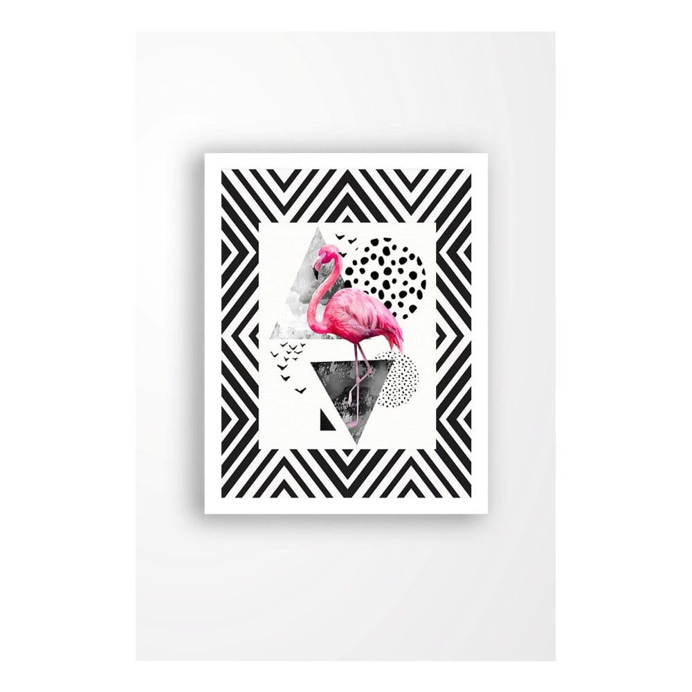 Nástenný obraz na plátne v bielom ráme Tablo Center Flamingo Party, 29 × 24 cm