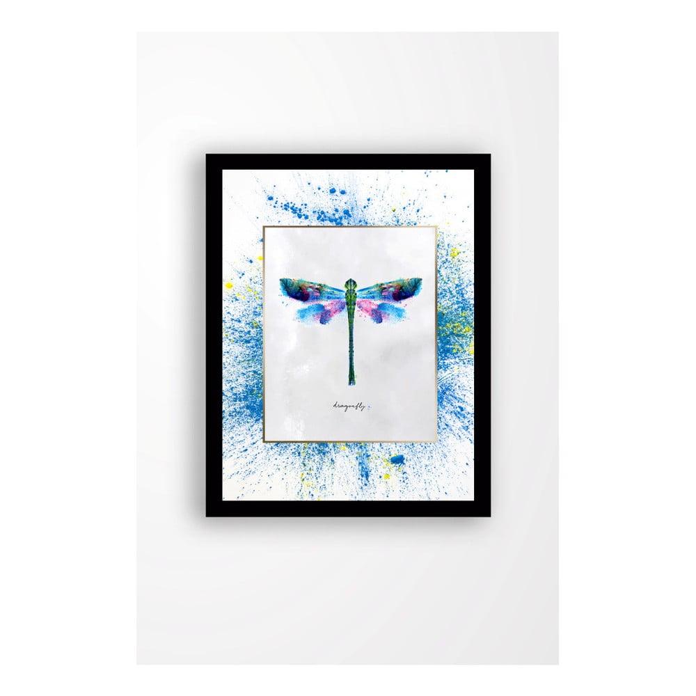 Nástenný obraz na plátne v čiernom ráme Tablo Center Dragonfly, 29 × 24 cm