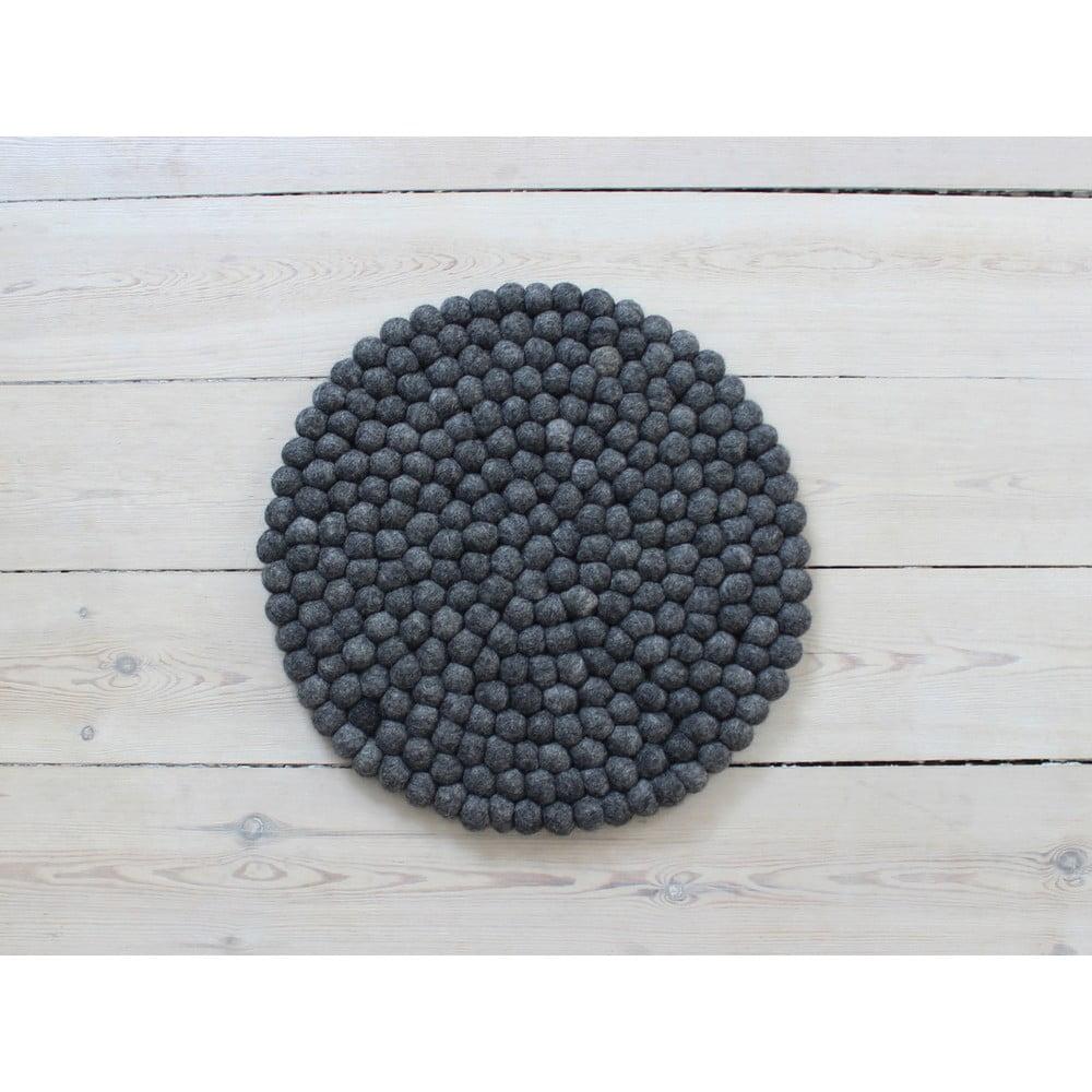 Antracitovosivý guľôčkový vlnený vankúš na sedenie Wooldot Ball Chair Pad, ⌀ 39 cm