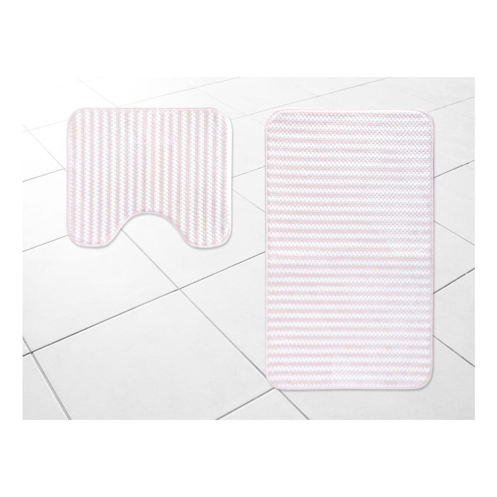 Sada 2 bielo-ružových kúpeľňových predložiek Madame Coco Stripy, 50×60 cm / 60×100 cm