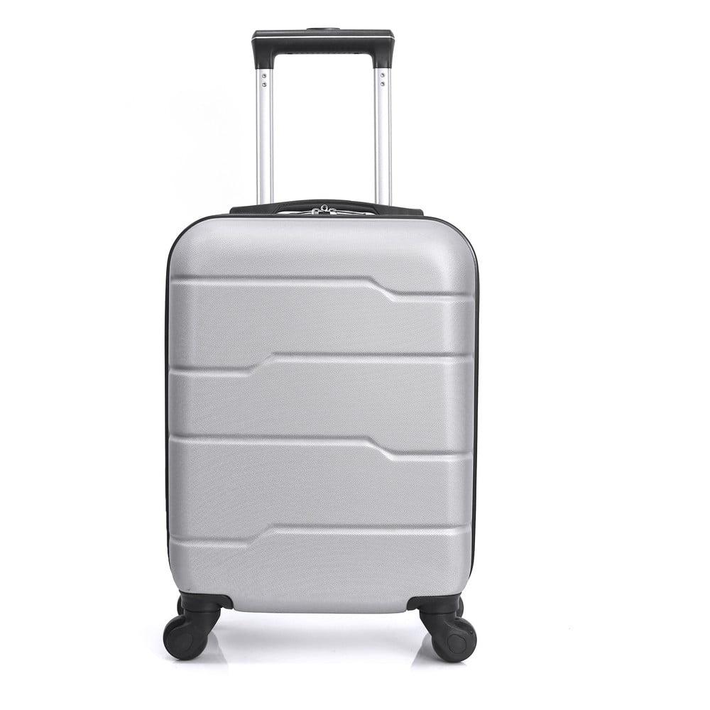 Striebornosivý cestovný kufor na kolieskach Hero Santiago, 30 l