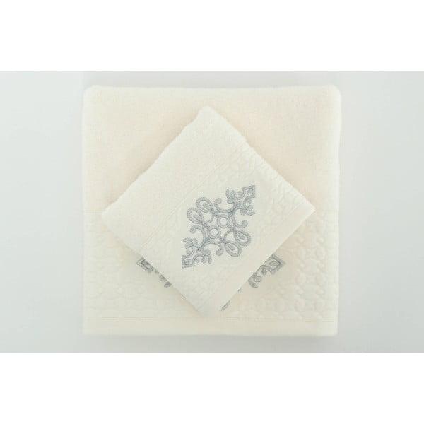 Sada 2 uterákov Isle Cream Silver, 30x50 cm/50x90 cm