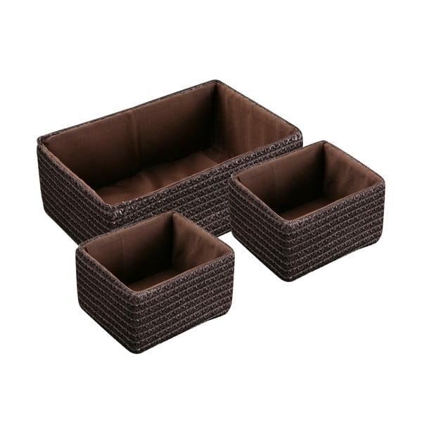 Sada 3 košíkov Chocolate Brown