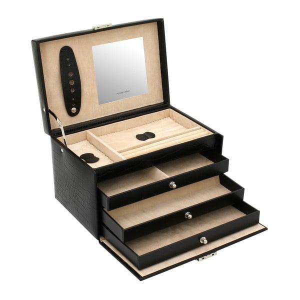 Šperkovnica Classico Black, 24x15x16 cm