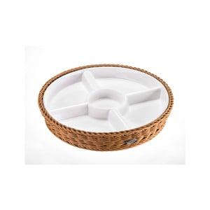 Porcelánová servírovacia miska v košíku Korb, svetlá