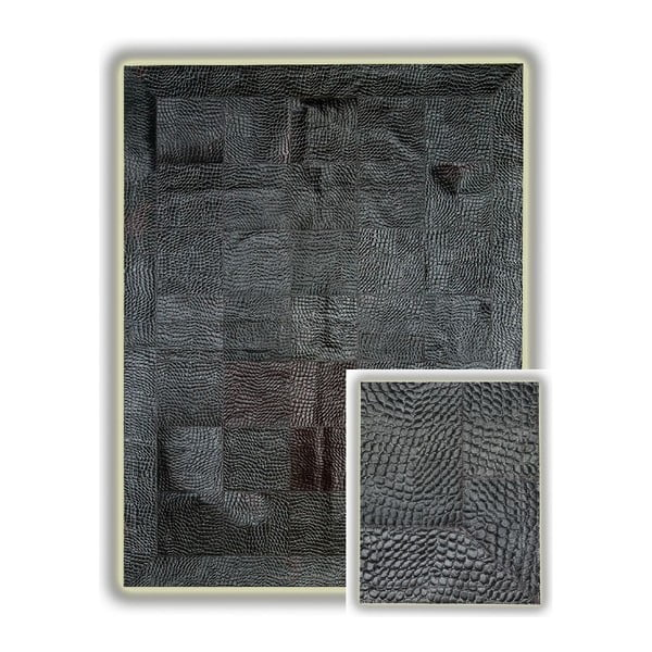 Koberec z pravej kože Black Crocodile, 140x200 cm