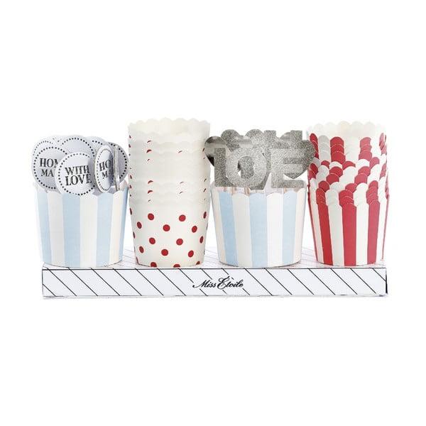Darčekové balenie košíčkov a ozdôb na muffiny, červeno-modrá