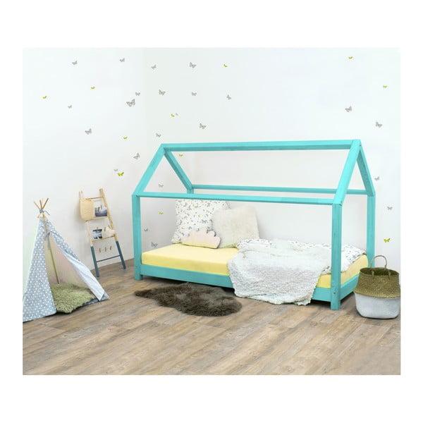 Tyrkysová detská posteľ bez bočníc zo smrekového dreva Benlemi Tery, 90×200 cm