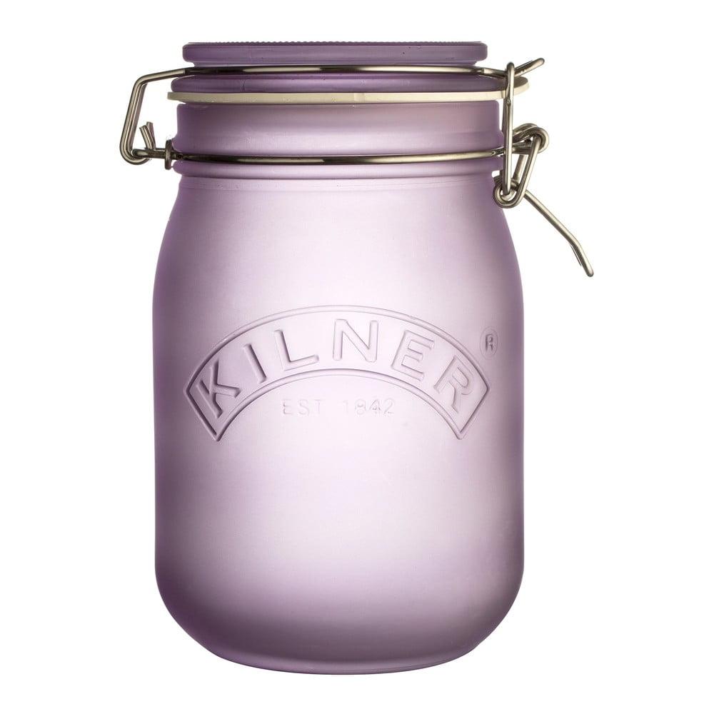 Mliečnofialový pohár s klipom Kilner, 1 l