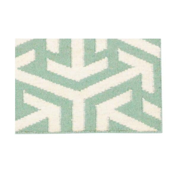 Vlnený koberec Kilim no. 307, 120x180cm, zelený