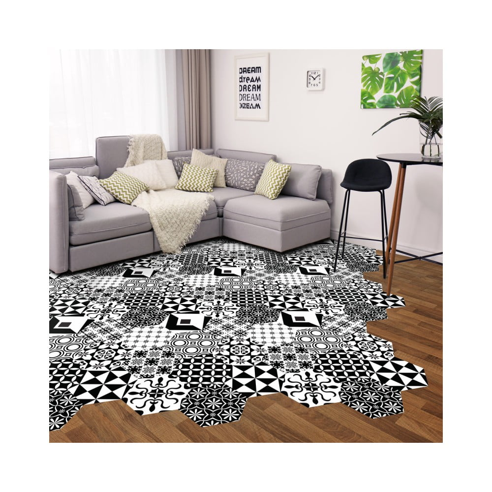 Sada 10 samolepiek na podlahu Ambiance Floor Stickers Hexagons Nemesio, 40 × 90 cm