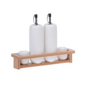 Set porcelánovej koreničky, soľničky a 2 fliaš na olej na bambusovom podnose Zinas
