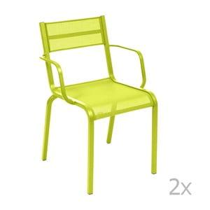 Sada 2 svetlozelených kovových záhradných stoličiek Fermob Oléron Arms