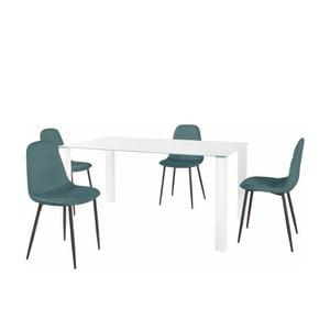 Sada jedálenského stola a 4 tyrkysových stoličiek Støraa Dante, dĺžka stola 160 cm