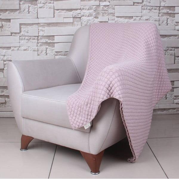 Ružová bavlnená deka Ciana, 170×130 cm