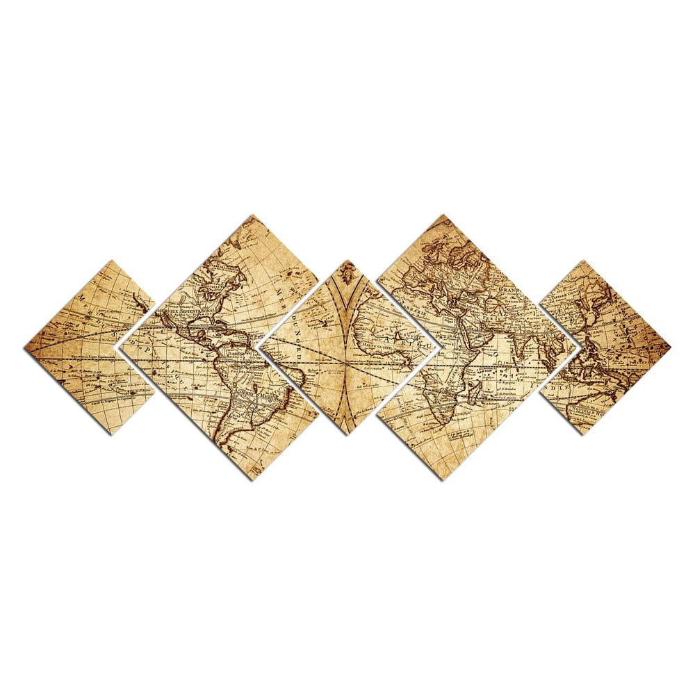 Viacdielny obraz Map of World, 120 × 50 cm