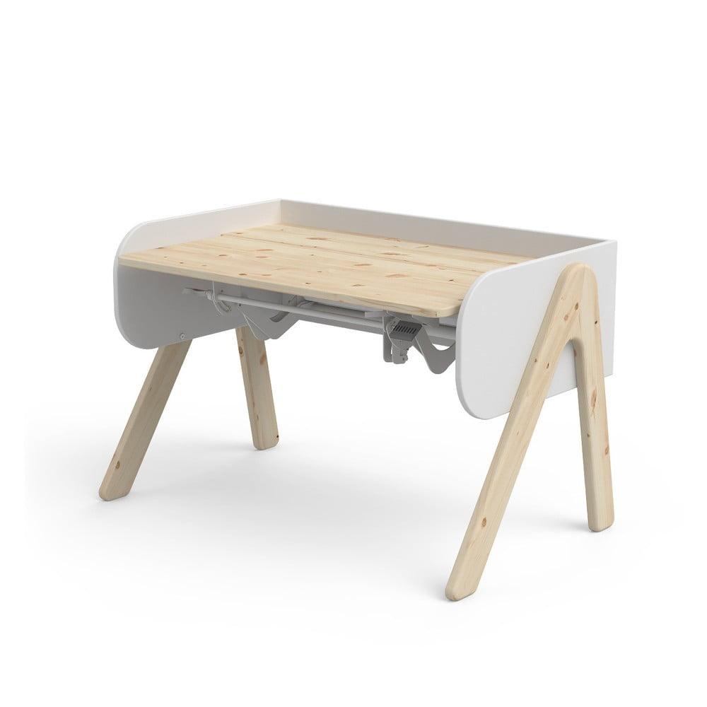 Bielo-hnedý písací stôl z borovicového dreva s nastaviteľnou výškou Flexa Woody