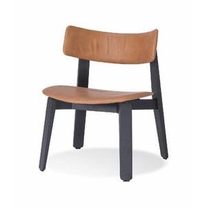 Čierna jedálenská stolička z dubového dreva s koženým sedadlom Gazzda Nora