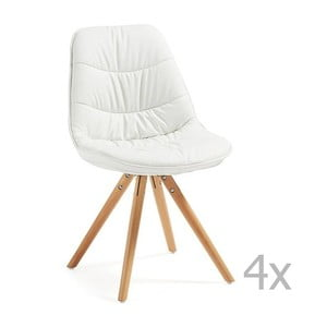 Sada 4 bielych čalúnených jedálenských stoličiek s dreveným podnožím La Forma Lars