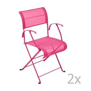 Sada 2 ružových skladacích stoličiek s opierkami na ruky Fermob Dune