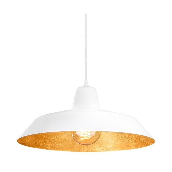 Závesné svietidlo Cinco, matná biela/zlatá