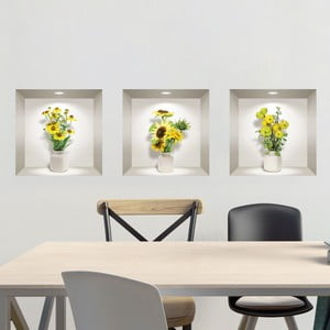 Sada 3 3D samolepiek na stenu Ambiance Yellow Flowers