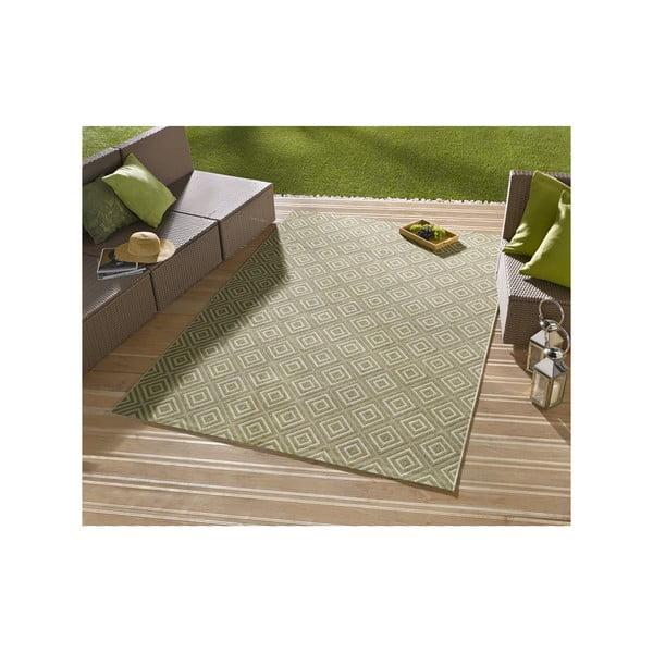 Zelený koberec vhodný aj do exteriéru Hanse Home Karo, 200x290cm