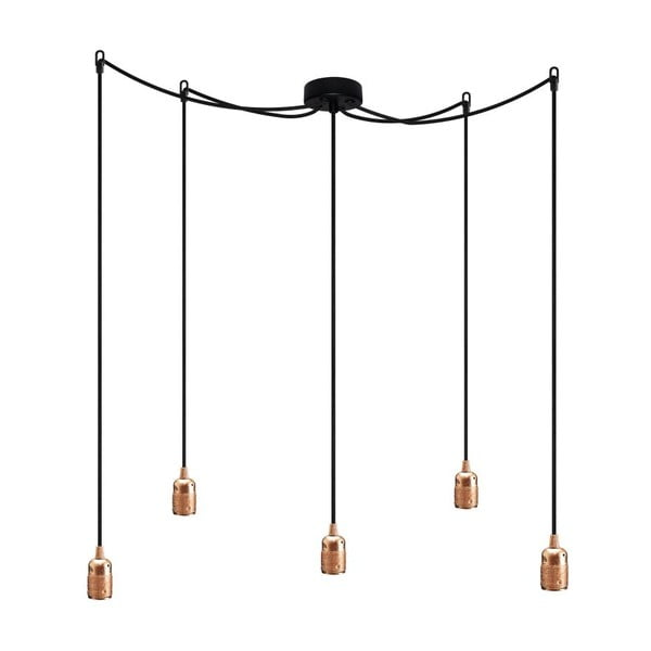 Závesné svietidlo s 5 čiernymi káblami a objímkou v medenej farbe Bulb Attack Uno