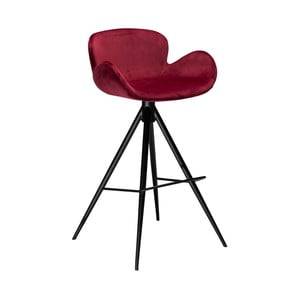 Vínová barová stolička DAN–FORM Denmark Gaia Velvet, výška 98 cm