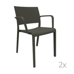 Sada 2 čiernych záhradných stoličiek sopierkami Resol Fiona