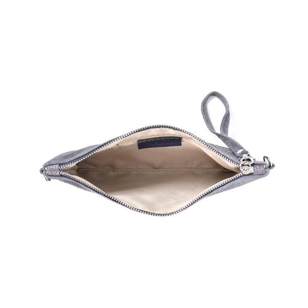 Kožená listová kabelka Marie, sivá