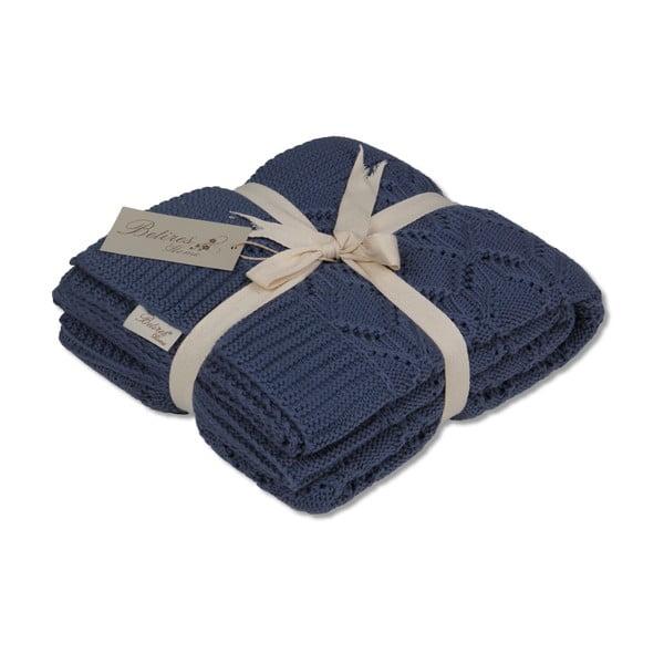 Tmavomodrá bavlnená deka Cotton