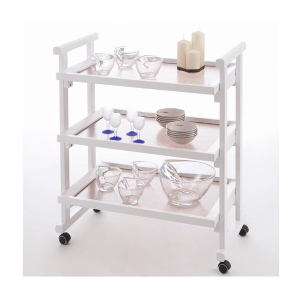 Biely pojazdný servírovací stolík z bukového dreva Arredamenti Italia Gregory