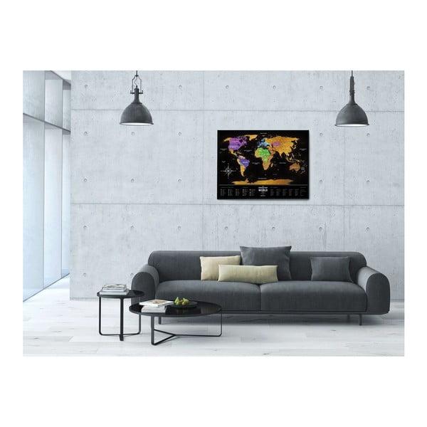 Stieracia mapa sveta Scratch Map of the World Black