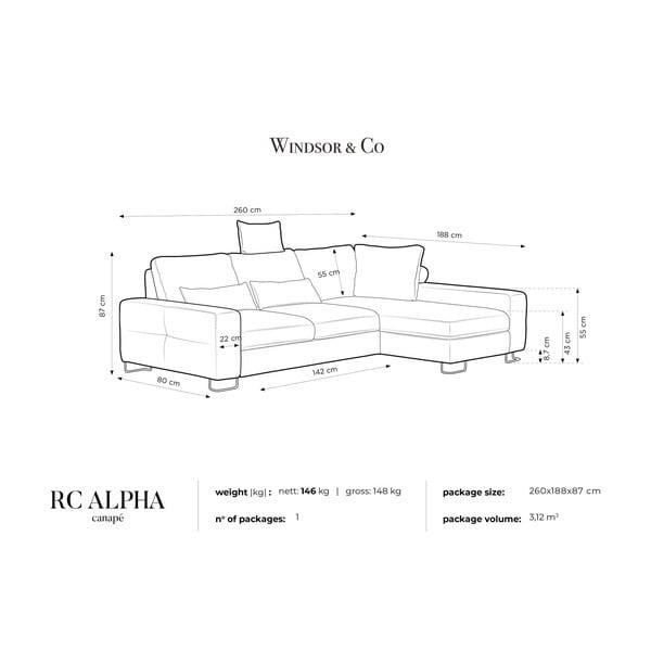 Svetlosivá rohová rozkladacia pohovka Windsor & Co Sofas, pravý roh Alpha