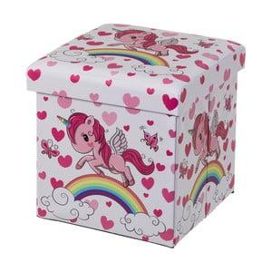 Ružový detský puf s úložným priestorom Unimasa Unicorn