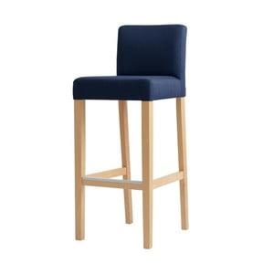 Modrá barová stolička s prírodnými nohami Custom Form Wilton