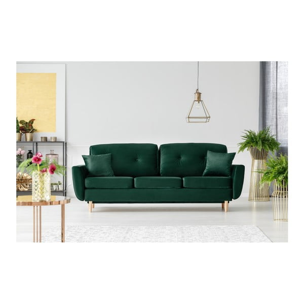 Zelená rozkladacia trojmiestna pohovka s úložným priestorom Mazzini Sofas Silva