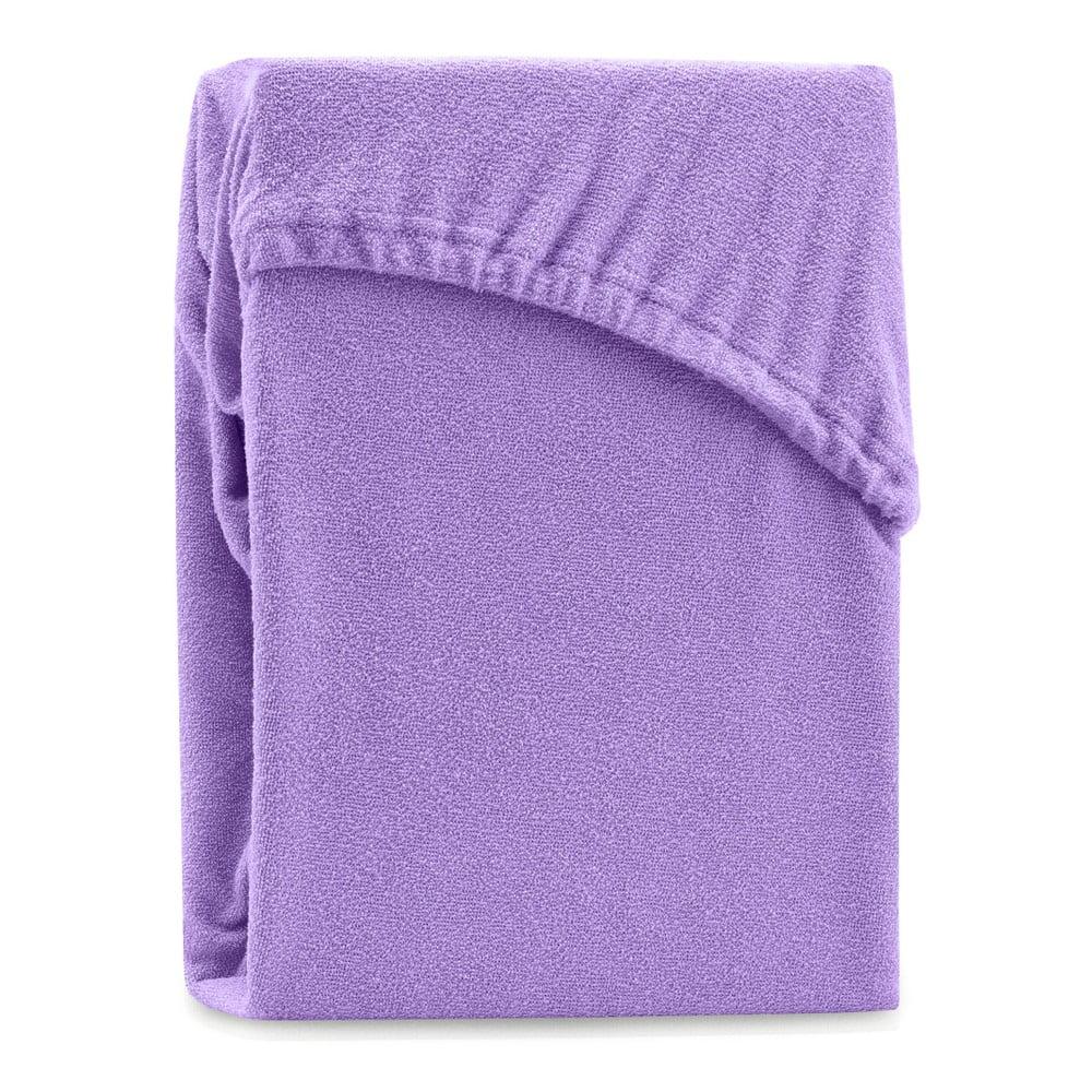 Fialová elastická plachta na dvojlôžko AmeliaHome Ruby Purple, 200-220 x 200 cm