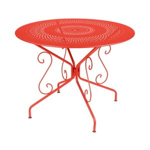 Oranžovočervený kovový stôl Fermob Montmartre, Ø96cm