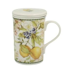 Porcelánový hrnček s filtrom s motívom kvetín Duo Gift Lemon, 300 ml