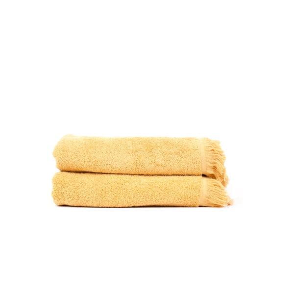 Sada 2 žltých bavlnených osušiek Casa Di Bassi Sun, 100x160 cm