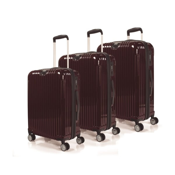Sada 3 kufrov Jaslen, burgundy