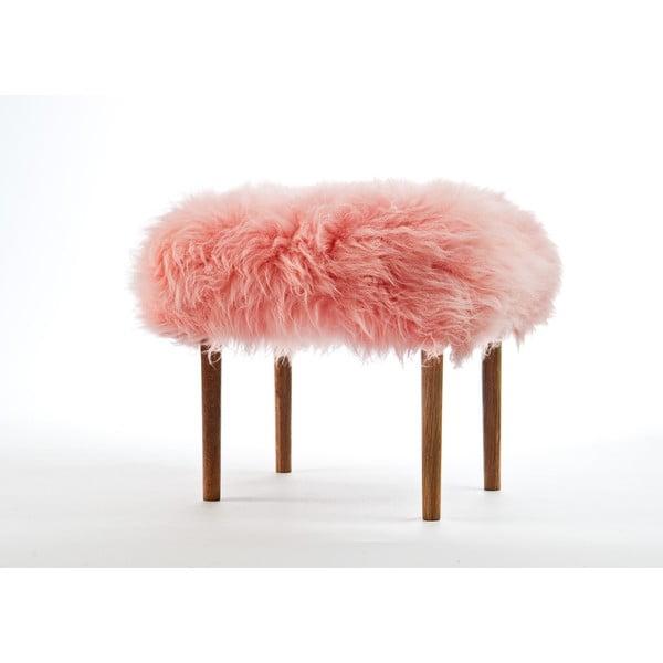 Stolička z ovčej kože Ceri Baby Pink