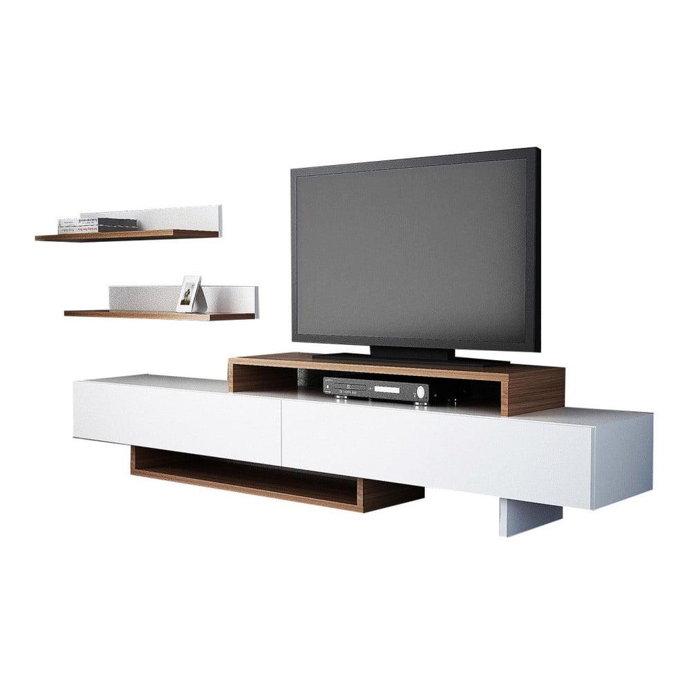 Set bielej TV komody a nástennej police v dekore teakového dreva Nirvanas