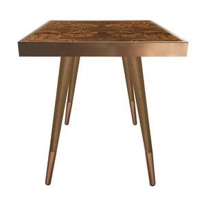 Príručný stolík Caresso Brown Marbling Square, 45 × 45 cm