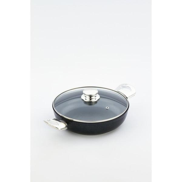 Panvica s pokrievkou a antikoro úchytmi Bisetti Black Diamond, 24 cm