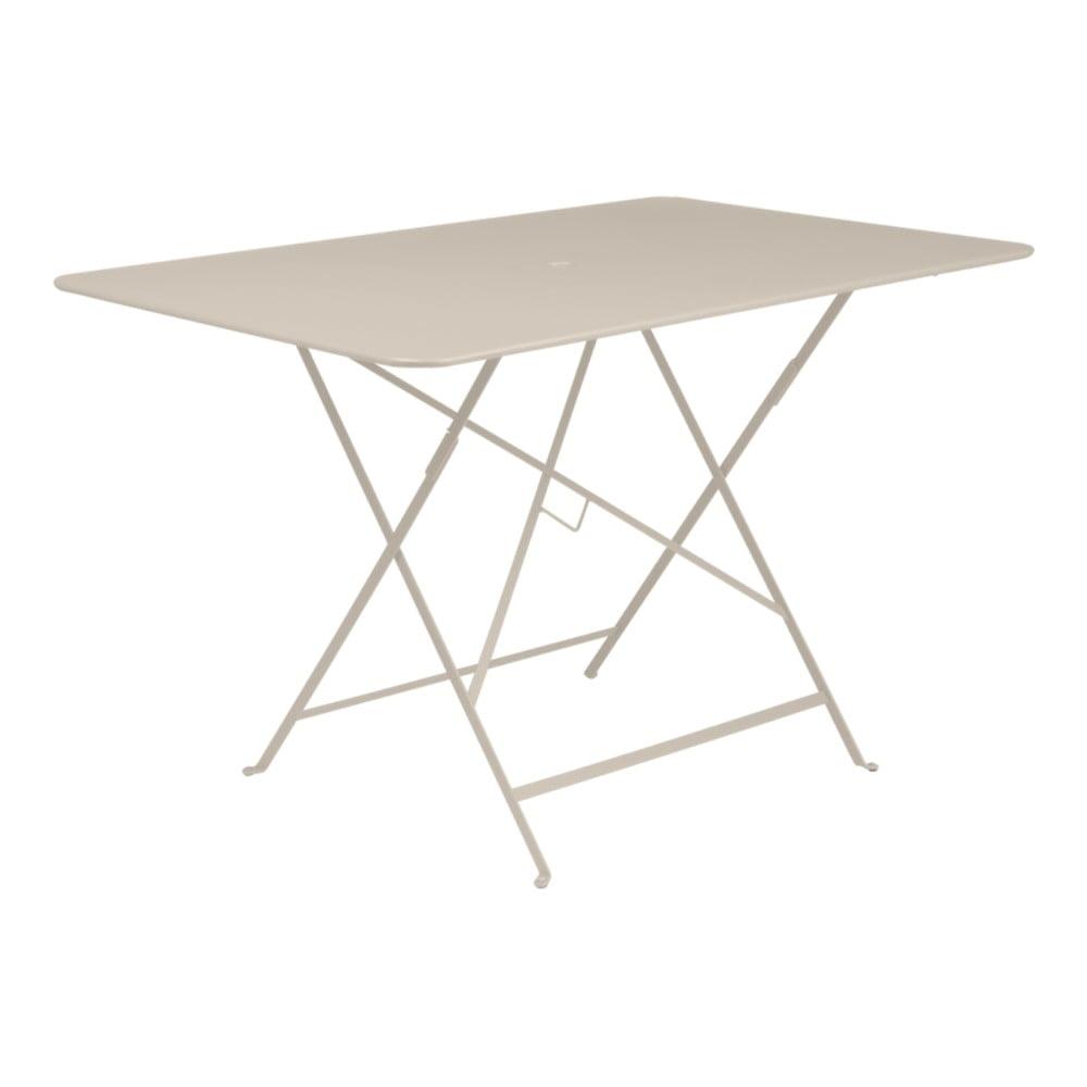 Svetlobéžový skladací záhradný stolík Fermob Bistro, 117 × 77 cm