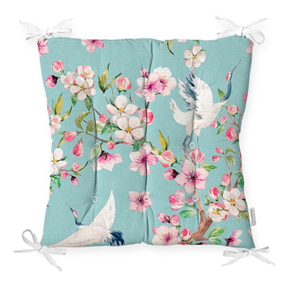Sedák na stoličku Minimalist Cushion Covers Flowers and Bird, 40 x 40 cm