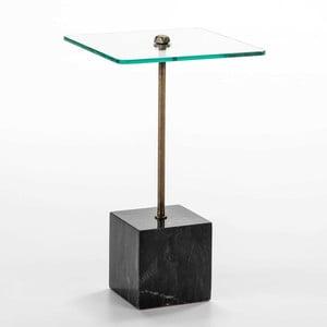 Odkladací stolík zo skla a čierneho mramoru Thai Natura Delirium, Ø 40 cm